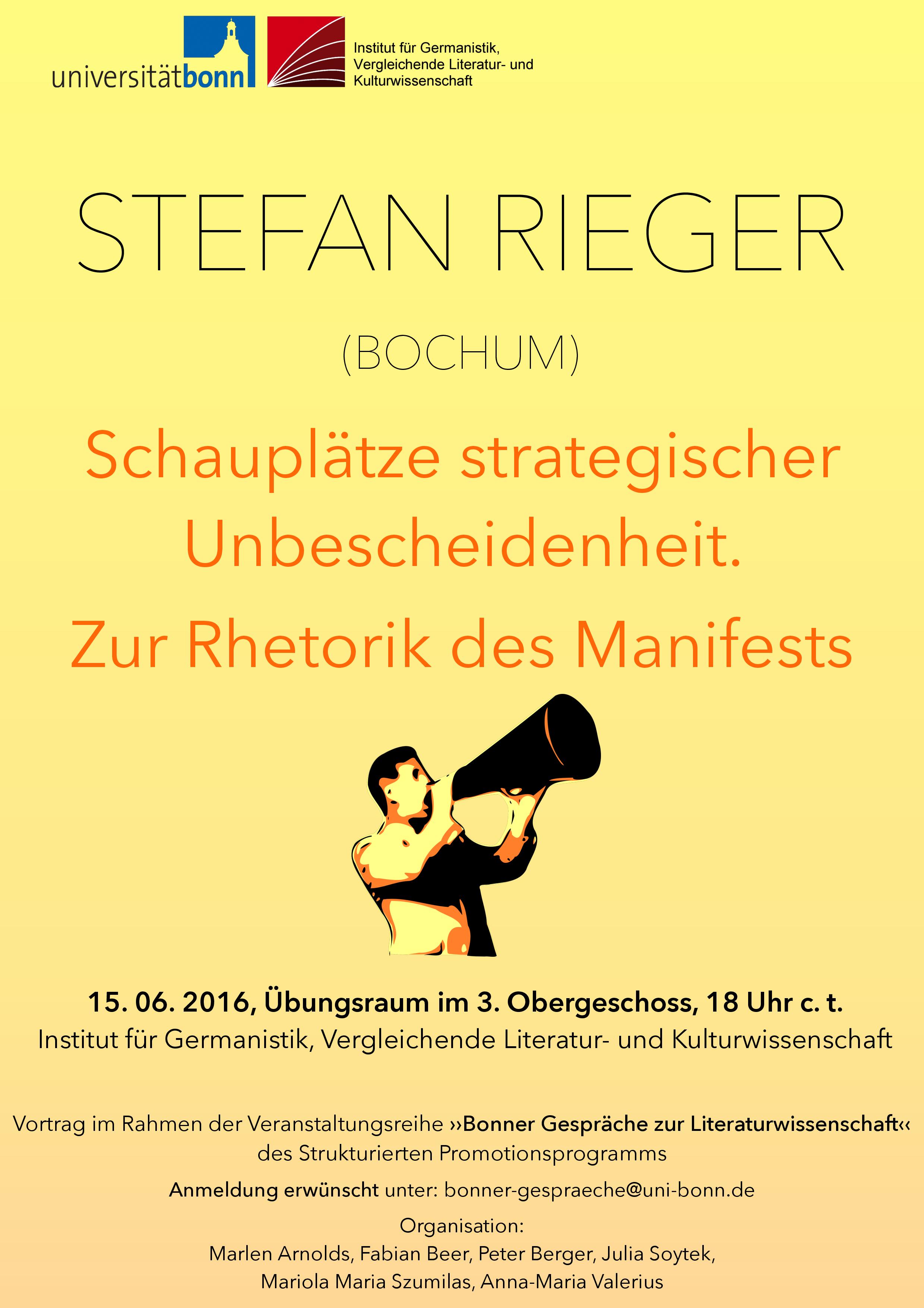 Plakat der »Bonner Gespräche zur Literaturwissenschaft«