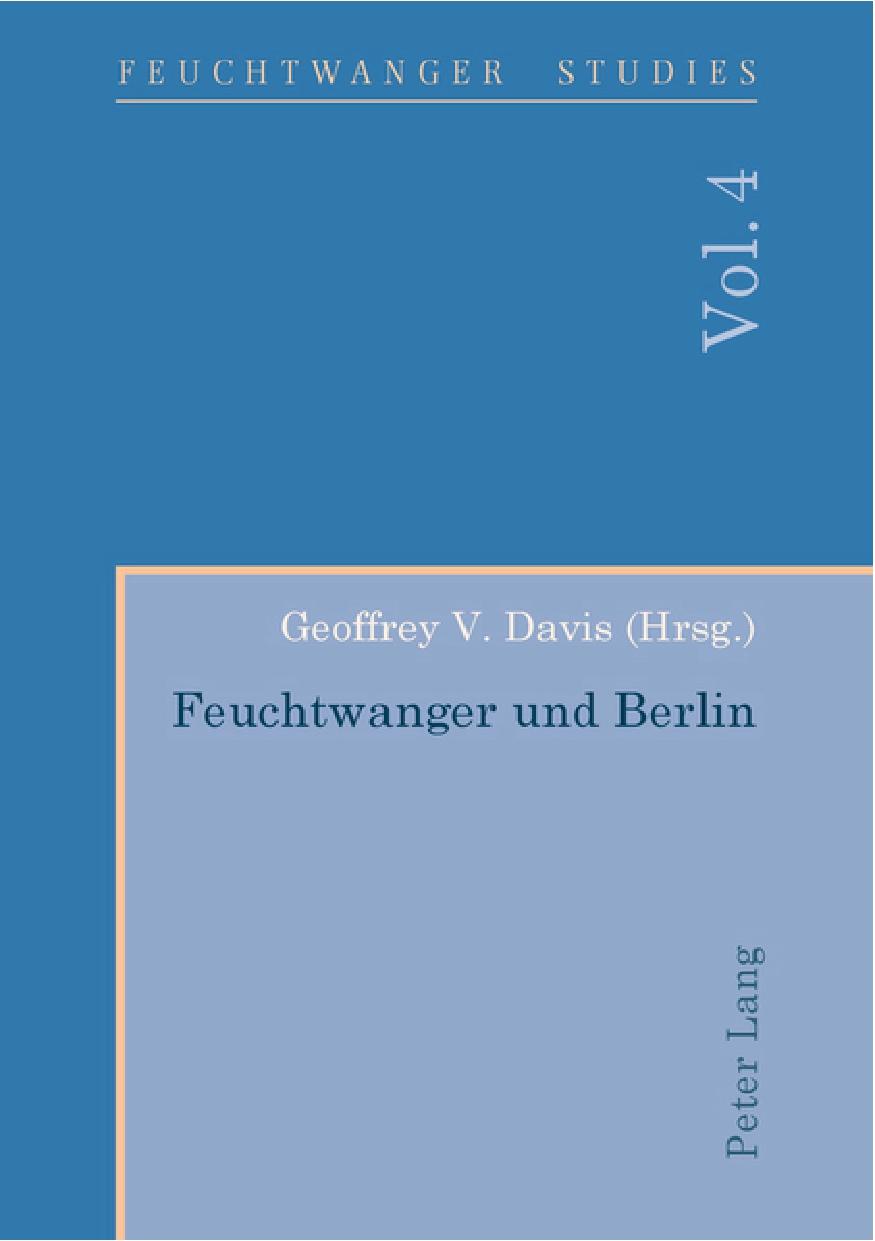 Feuchtwanger Studies, Vol. 4 (Cover)