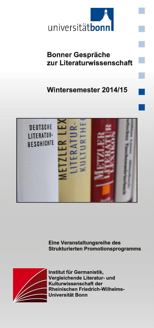 Flyer der »Bonner Gespräche zur Literaturwissenschaft« (Cover)